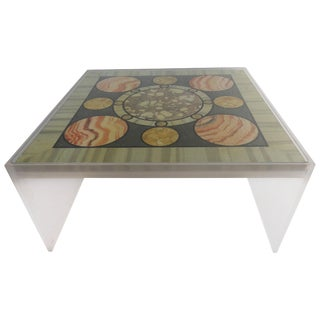 19th Century Folk Art Faux Marble Specimen Top Coffee Table For Sale