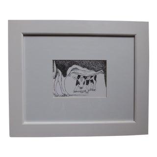 Original 1990 Susan Wilhite Cow & Calf Sketch For Sale