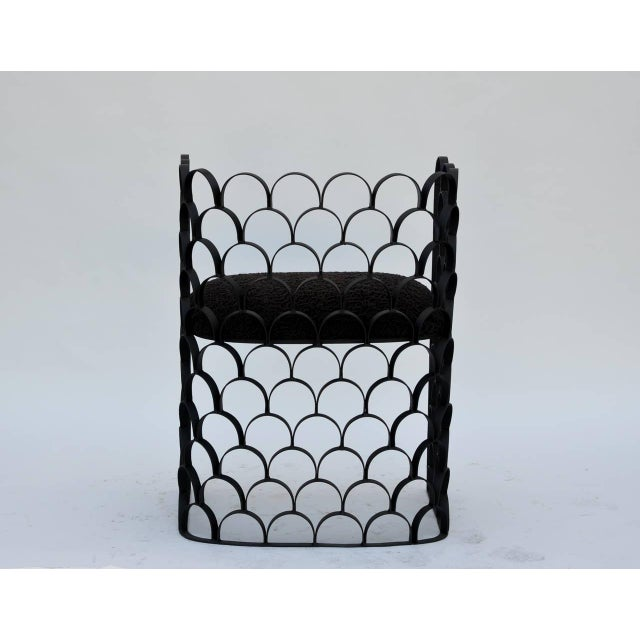 Sculptural Wrought Iron and Astrakhan Wool 'Arcature' Stool by Design Frères For Sale In Los Angeles - Image 6 of 9