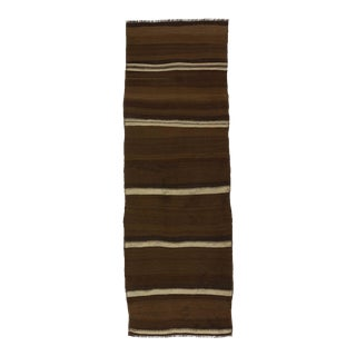 Vintage brown and white striped natural kilim runner rug For Sale