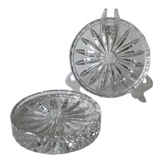 Vintage Faceted Glass Wine Bottle Coasters/ Candle Holders - a Pair For Sale