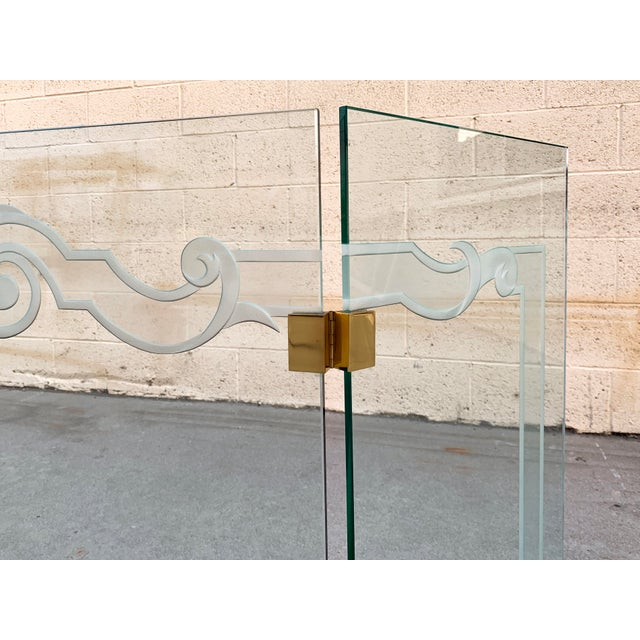 Glass Fireplace Screen With Brass Hinges by Danny Alessandro, Custom Etching For Sale In Los Angeles - Image 6 of 8