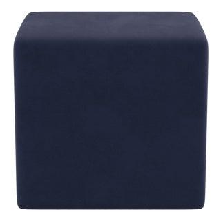 Cube Ottoman in Navy Velvet For Sale