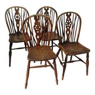Antique English Windsor Side Chairs- Set of 4 For Sale
