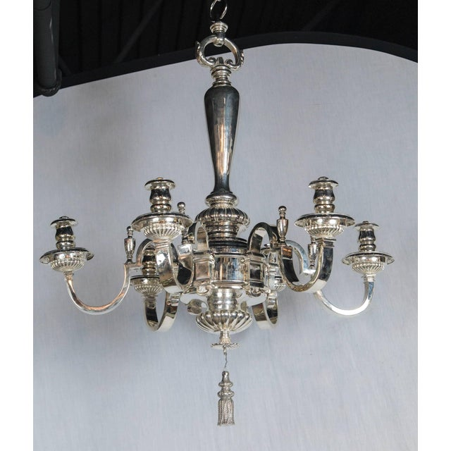 Caldwell Silver Plated Six-Light Chandelier For Sale In New York - Image 6 of 7