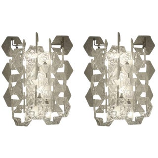 Pair of Italian Mid-Century Glass Sconces For Sale