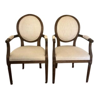 Vintage French Round Fabric Armchairs - a Pair For Sale