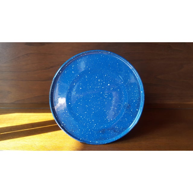 Vintage Blue Enamel Graniteware Enamel Tea Kettle For Sale - Image 12 of 13