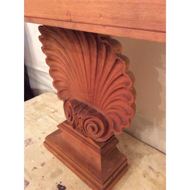 1940s Nautical Edward Wormley Style Shell Hall Table in Raw Mahogany For Sale - Image 5 of 10