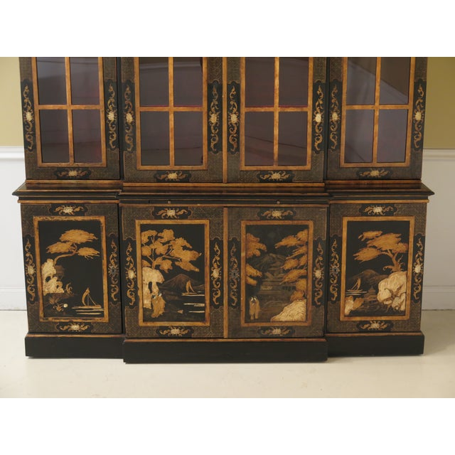 1980s Chinoiserie Decorated 4 Door Breakfront Bookcase For Sale In Philadelphia - Image 6 of 13