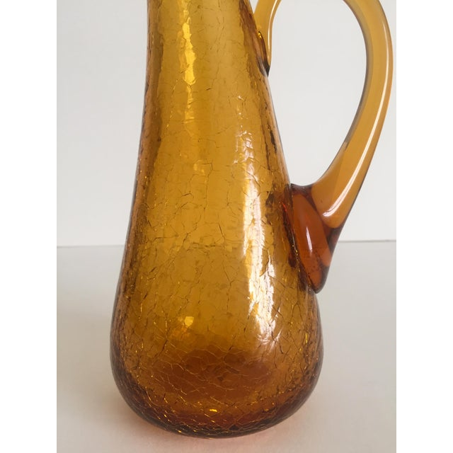 Amber Blenko Vintage Mid Century Modern Topaz Amber Hand Blown Crackle Art Glass Handled Pitcher For Sale - Image 8 of 11