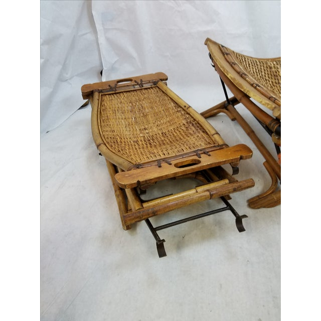 Vintage Rattan Sling Chair With Ottoman For Sale - Image 4 of 8