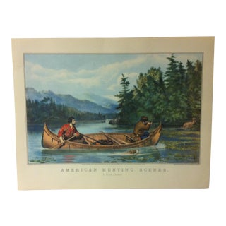 "Currier & Ives American Print, ""American Hunting Scenes - a Good Chance"", Crown Publishing, Circa 1950 For Sale"