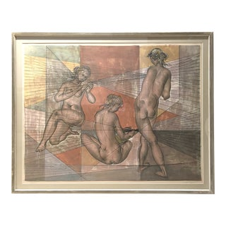 1960s Figurative Framed Lithograph by Hans Erni For Sale