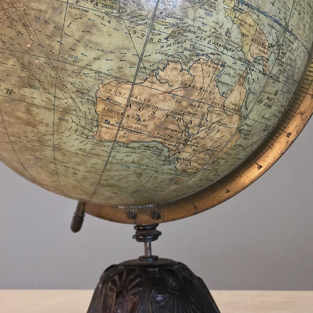 Antique French Paper MacheÕ World Globe on Painted Cast Iron Stand For Sale - Image 9 of 11
