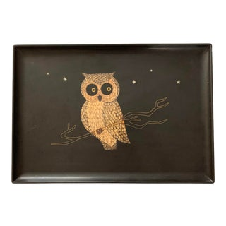 Barware Cocktail Tray Owl on a Branch - Couroc 1970's For Sale