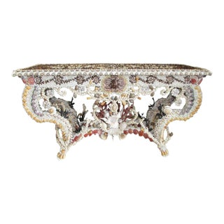 French Louis XV Seashell Encrusted Console Table For Sale