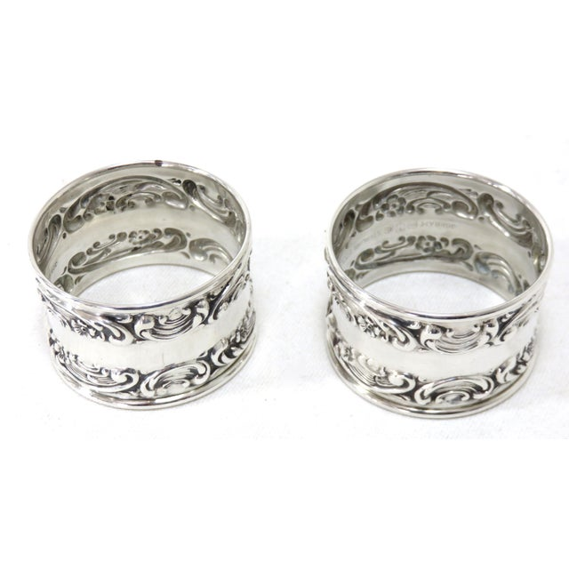 Silver Vintage Victorian Gorham Sterling Silver Napkin Rings - a Pair For Sale - Image 8 of 12