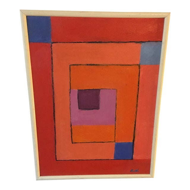 Vintage Geometric Abstract Painting on Canvas For Sale
