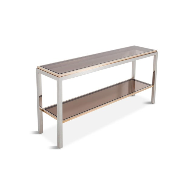 Will Wick Willy Rizzo Two-Tier Console Table in Chrome and Brass Linea Flaminia For Sale - Image 4 of 8