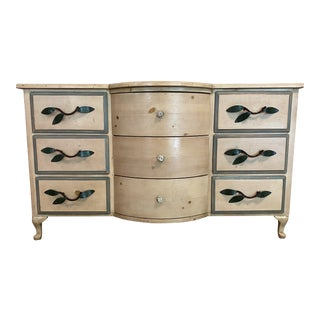 Custom Pine Bow-Front Dresser For Sale