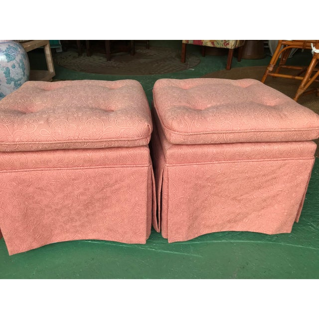 Vintage Pink Tufted Skirted Upholstered Ottomans-A Pair For Sale - Image 9 of 11