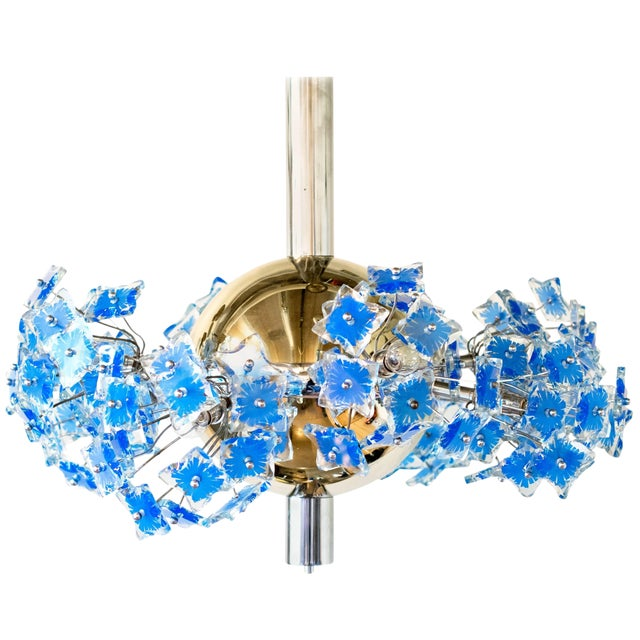 Italian Chandelier Attributed to Fontana Arte, 1950s For Sale
