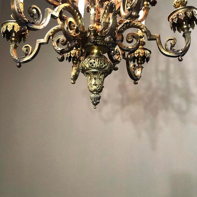Metal Antique French Louis XIV Bronze Chandelier For Sale - Image 7 of 13