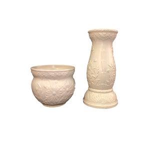 Matte White Floral Jardiniere - 2 Pieces