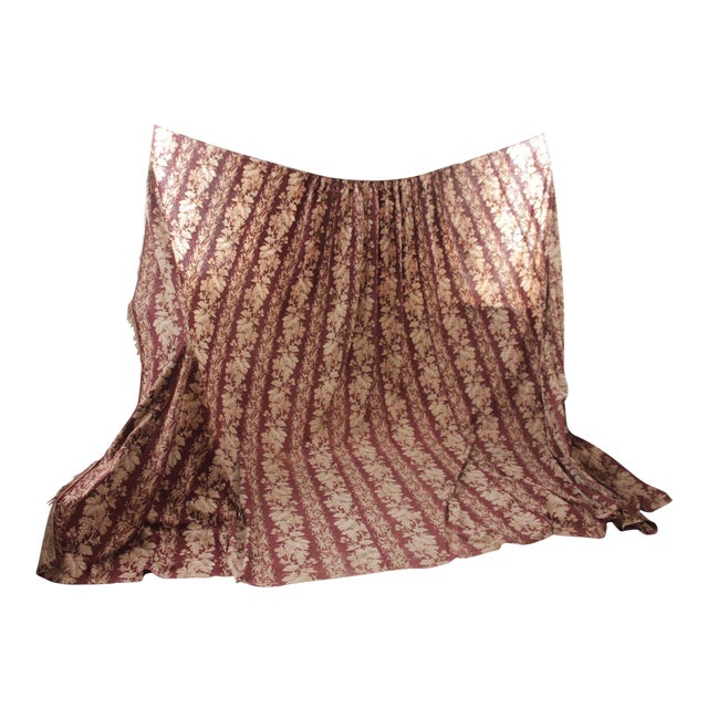Antique 1870s French Large Printed Cotton Madder Brown Passementerie Bed Curtain For Sale