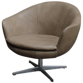 Vintage Swedish Mid-Century Leather Swivel Arm Chair For Sale