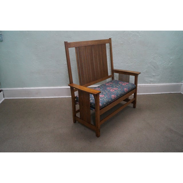 Stickley Mission Oak High Spindle Back Settee - Image 2 of 10
