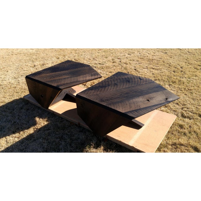 Wood Modern Ebonized Oak Barnwood Coffee Tables - Pair For Sale - Image 7 of 11