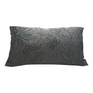 "Laura Kirar for Highland Court Brown Silk Floral Pillow Cover - 14""x24"" For Sale"