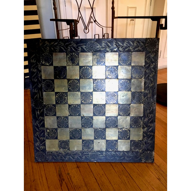 Metal Mexaican Chess Board Table With Hand-Carved Wooden Chess Men For Sale In Los Angeles - Image 6 of 8