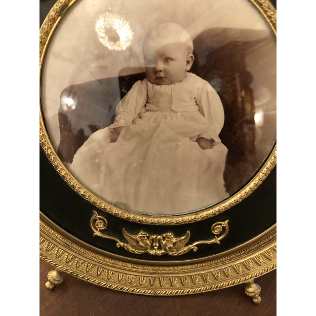 French Empire Antique Patinated Bronze Round Picture Frame For Sale - Image 4 of 10