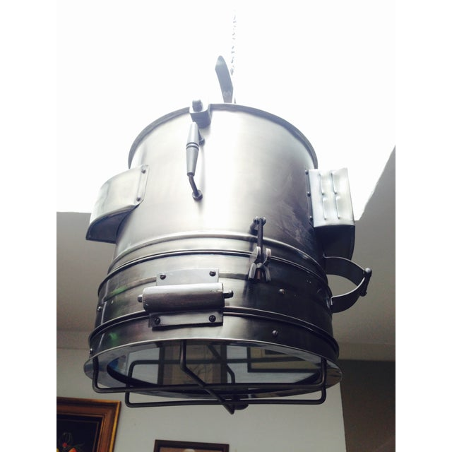 Silver Large Industrial Hanging Pendant Light Chandelier For Sale - Image 8 of 11