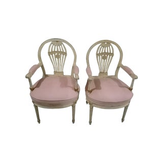 Elegant Louis XV Scalamandre Blush Suede Chairs For Sale