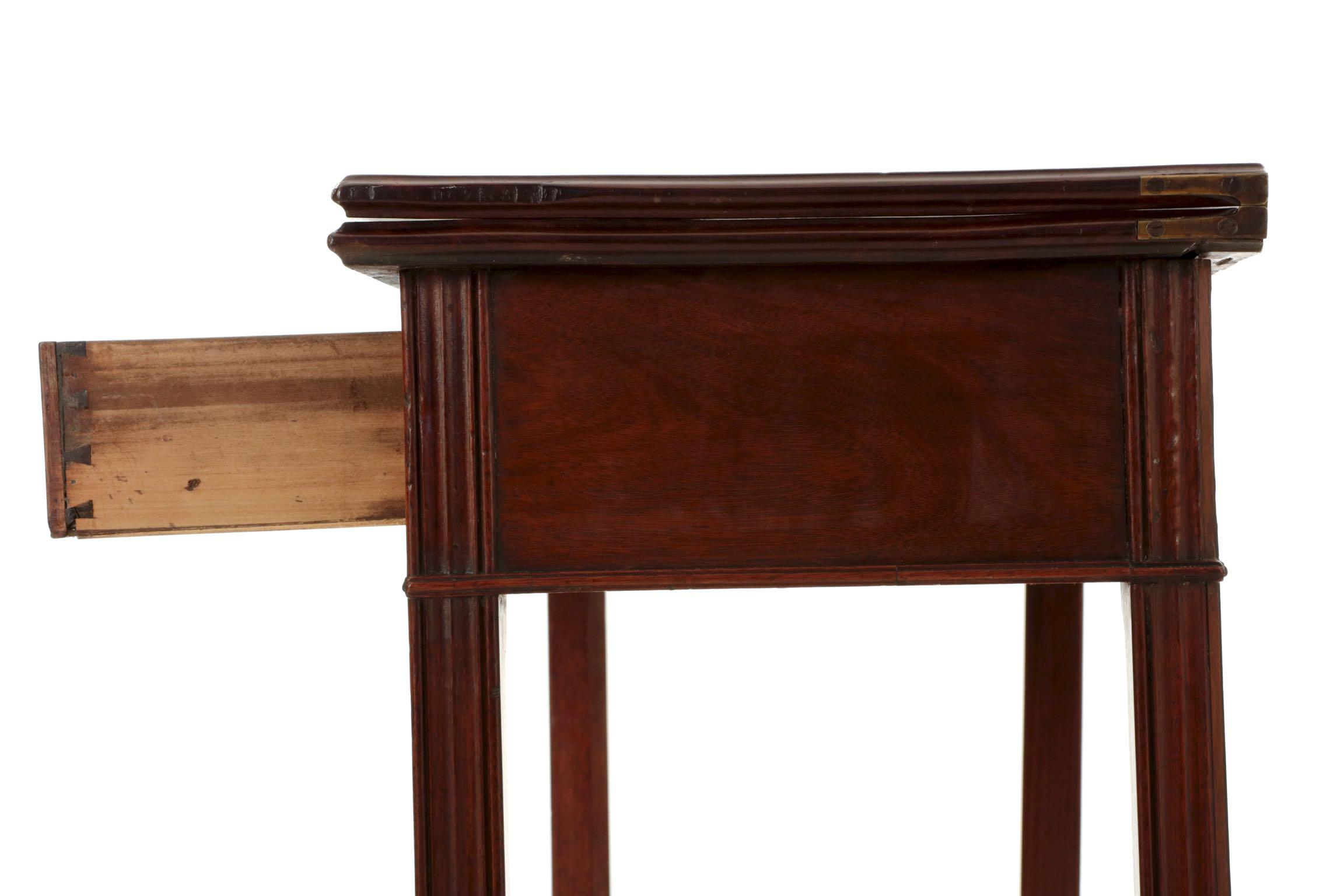 American Chippendale Period Mahogany Antique Card Table Late 18th