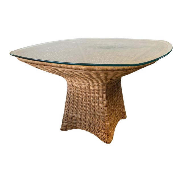 Sculptural Wicker Dining Table For Sale