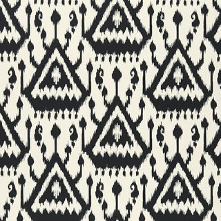 Sample - Schumacher Vientiane Ikat Wallpaper in Ebony Black For Sale