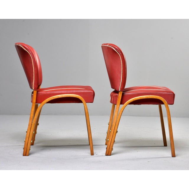 Brown Italian Mid Century Bentwood Dining Chairs With Original Red Vinyl Upholstery - Set of 6 For Sale - Image 8 of 13