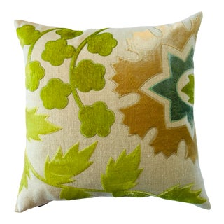 Contemporary Green Velvet on Linen Pillow with Fantasy of Flower and Leaves For Sale