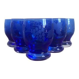 1920s Vintage Pairpoint Cobalt Blue Crystal Shot Glasses- Set of 8 For Sale
