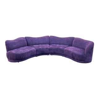 Kagan Attributed Aubergine Curved Four Piece Sectional Sofa For Sale