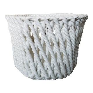 Italian Glazed Ceramic Rope Basket