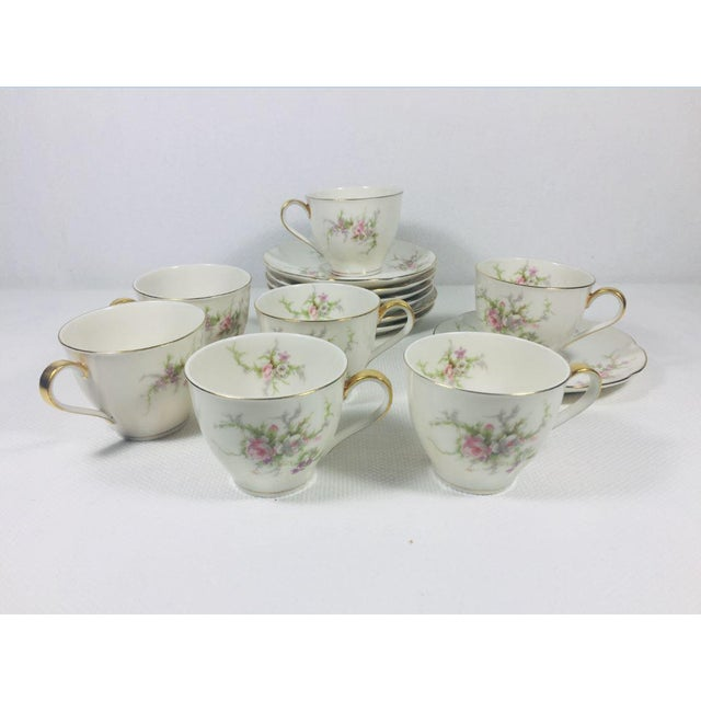 1930s Haviland Rosalinde Demistasse Cups and Saucers Set of 14 For Sale - Image 12 of 12
