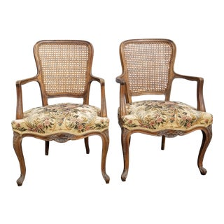 Vintage Mid Century French Provincial Country White Floral Accent Chairs- A Pair For Sale