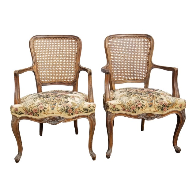 Accent Chairs Sold In Pairs.Vintage Mid Century French Provincial Country White Floral Accent Chairs A Pair