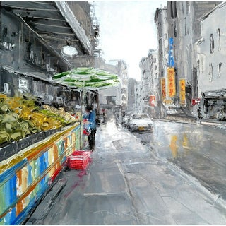"Beckham Framed Oil Painting ""Organic Market"", Contemporary Architectural Scene For Sale"